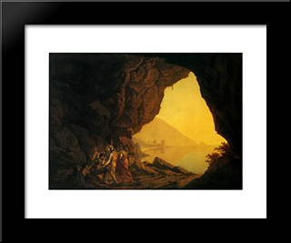 A Grotto In The Kingdom Of Naples, With Banditti: Modern Black Framed Art Print by Joseph Wright