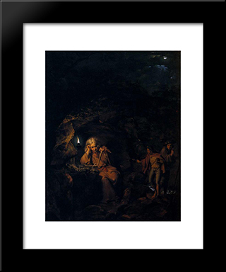 A Philosopher By Lamp Light: Modern Black Framed Art Print by Joseph Wright