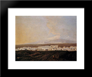 A View Of Mount Etna And A Nearby Town: Modern Black Framed Art Print by Joseph Wright