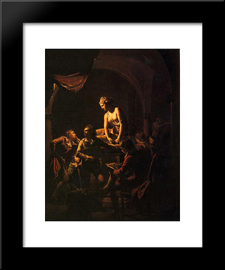 An Academy By Lamplight: Modern Black Framed Art Print by Joseph Wright