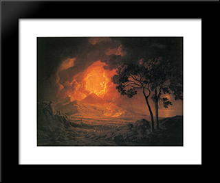 An Eruption Of Mount Vesuvius, With The Procession Of St. Januariu'-S Head: Modern Black Framed Art Print by Joseph Wright