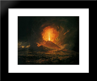 An Eruption Of Vesuvius, Seen From Portici: Modern Black Framed Art Print by Joseph Wright