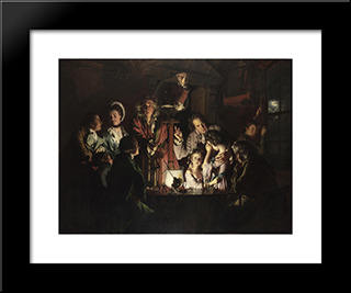 An Experiment On A Bird In The Air Pump: Modern Black Framed Art Print by Joseph Wright