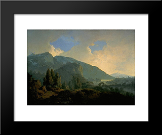 An Italian Landscape With Mountains And A River: Modern Black Framed Art Print by Joseph Wright