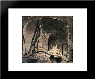 An Open Hearth With A Fire: Modern Black Framed Art Print by Joseph Wright
