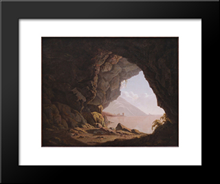 Cavern, Near Naples: Modern Black Framed Art Print by Joseph Wright