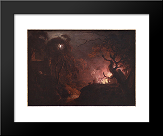 Cottage On Fire At Night: Modern Black Framed Art Print by Joseph Wright