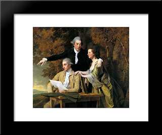 D'Ewes Coke, His Wife Hannah And Daniel Parker Coke: Modern Black Framed Art Print by Joseph Wright