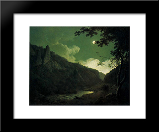 Dovedale By Moonlight: Modern Black Framed Art Print by Joseph Wright