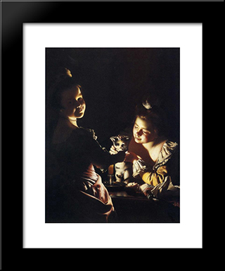 Dressing The Kitten: Modern Black Framed Art Print by Joseph Wright