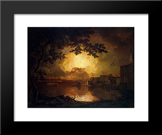 Firework Display At The Castel Sant' Angelo In Rome: Modern Black Framed Art Print by Joseph Wright