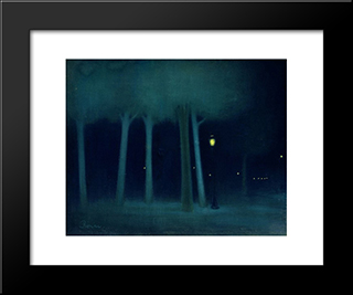 A Park At Night: Modern Black Framed Art Print by Jozsef Rippl Ronai