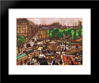 Busy City Scene: Modern Black Framed Art Print by Jozsef Rippl Ronai