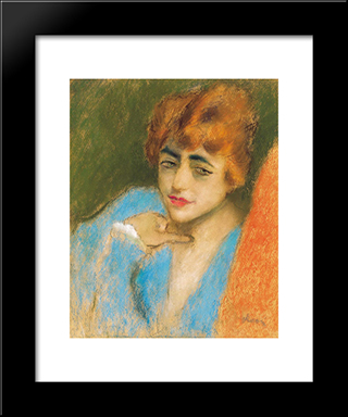 Girl Dressed Up In Blue: Modern Black Framed Art Print by Jozsef Rippl Ronai