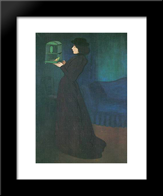Girl With Cage: Modern Black Framed Art Print by Jozsef Rippl Ronai