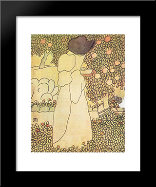 Lady In Her Garden: Modern Black Framed Art Print by Jozsef Rippl Ronai