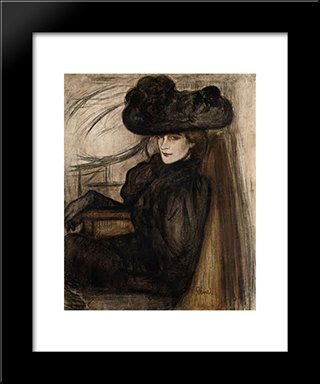Lady With Black Veil: Modern Black Framed Art Print by Jozsef Rippl Ronai