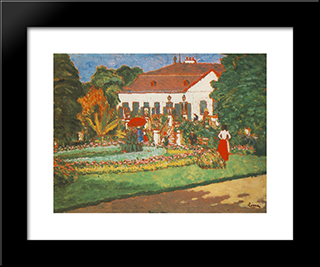 Manor-House At Kortvelyes: Modern Black Framed Art Print by Jozsef Rippl Ronai