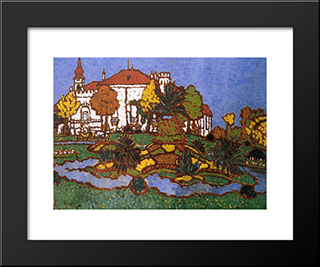 Mansion At Geszt: Modern Black Framed Art Print by Jozsef Rippl Ronai