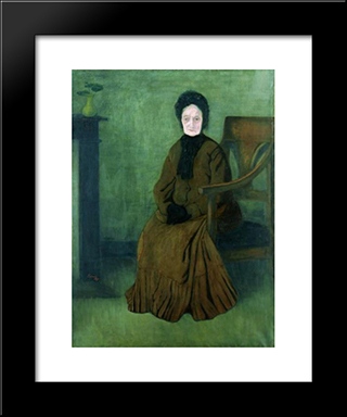 My Grandmother: Modern Black Framed Art Print by Jozsef Rippl Ronai