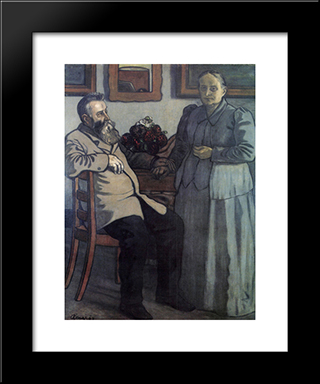 My Parents After Fourty Years Of Marriage: Modern Black Framed Art Print by Jozsef Rippl Ronai