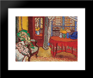 Parisian Interior: Modern Black Framed Art Print by Jozsef Rippl Ronai