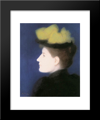 Portrait Of Margit Piatsek: Modern Black Framed Art Print by Jozsef Rippl Ronai