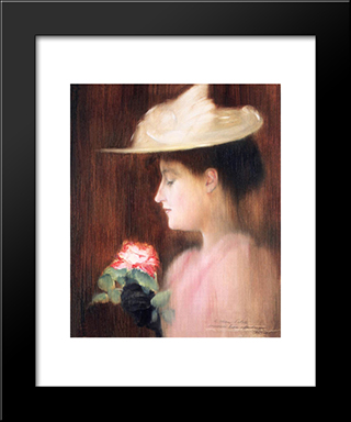 Portrait Of Mrs. Pataki: Modern Black Framed Art Print by Jozsef Rippl Ronai