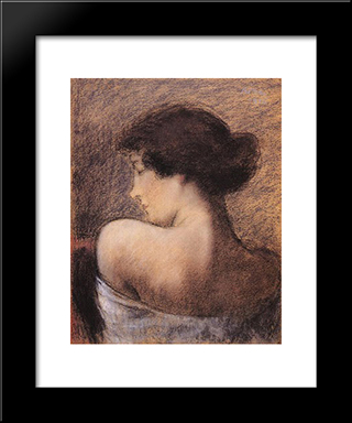 Profile Of A Woman: Modern Black Framed Art Print by Jozsef Rippl Ronai