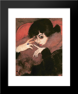 Shivering Girl With A Blue Ring: Modern Black Framed Art Print by Jozsef Rippl Ronai