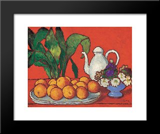 Still Life With Oranges: Modern Black Framed Art Print by Jozsef Rippl Ronai