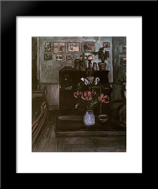 Twilight In An Intimate Room: Modern Black Framed Art Print by Jozsef Rippl Ronai