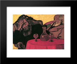 Uncle Piacsek Dresser In Front Of The Black.: Modern Black Framed Art Print by Jozsef Rippl Ronai