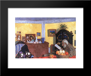 Uncle Piacsek In Front Of The Black Sideboard: Modern Black Framed Art Print by Jozsef Rippl Ronai