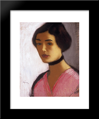 Woman In Ink Dress And Black Collar: Modern Black Framed Art Print by Jozsef Rippl Ronai