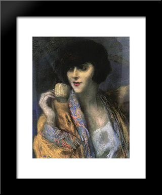 Woman With A Chinese Cup: Modern Black Framed Art Print by Jozsef Rippl Ronai