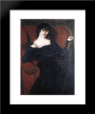 Zorka Banyai In A Black Dress: Modern Black Framed Art Print by Jozsef Rippl Ronai