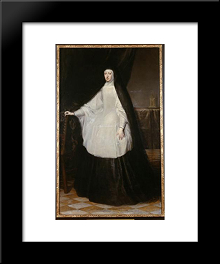 Archduchess Maria Anna Queen Of Spain As A Widow: Modern Black Framed Art Print by Juan Carreno de Miranda