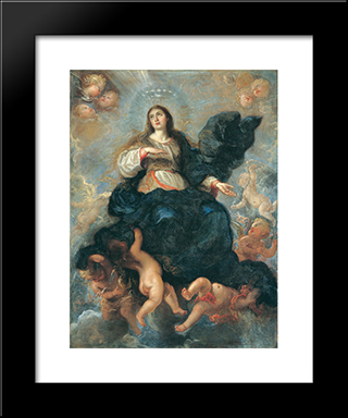 Assumption Of The Virgin: Modern Black Framed Art Print by Juan Carreno de Miranda