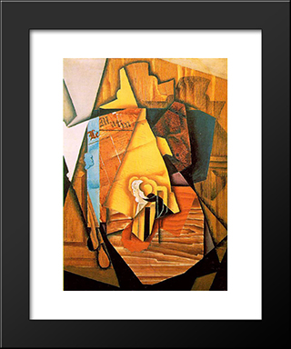 A Man In A Cafe: Modern Black Framed Art Print by Juan Gris