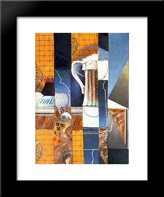 Beer Glass And Cards: Modern Black Framed Art Print by Juan Gris