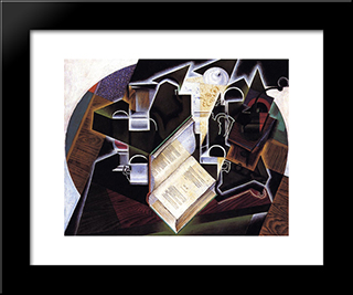 Book, Pipe And Glasses: Modern Black Framed Art Print by Juan Gris