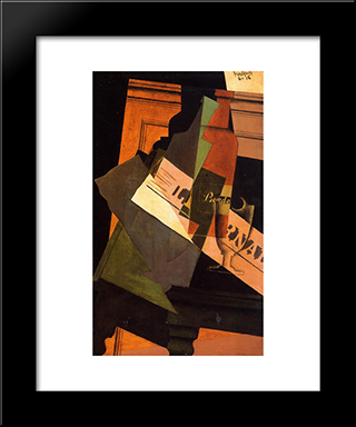 Bottle, Glass And Newspaper: Modern Black Framed Art Print by Juan Gris