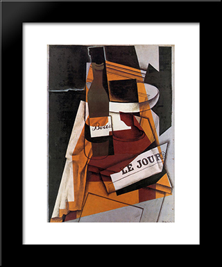 Bottle, Newspaper And Fruit Bowl: Modern Black Framed Art Print by Juan Gris