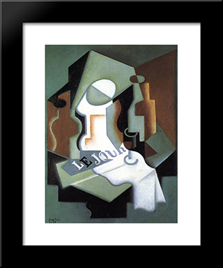 Bottle And Fruit Dish: Modern Black Framed Art Print by Juan Gris