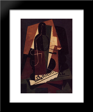 Bottle And Glass: Modern Black Framed Art Print by Juan Gris