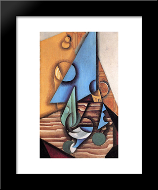 Bottle And Glass On A Table: Modern Black Framed Art Print by Juan Gris