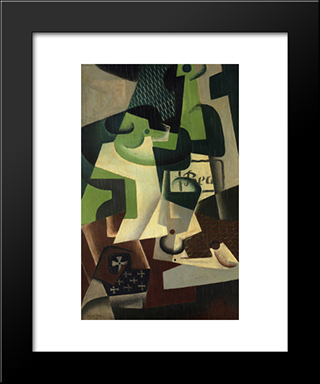 Bottle Of Beaune And A Fruit Dish: Modern Black Framed Art Print by Juan Gris