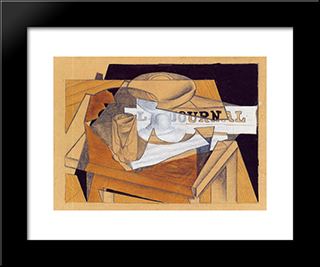 Bowl, Glass And Newspaper: Modern Black Framed Art Print by Juan Gris