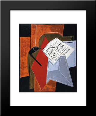 Bowl And Book: Modern Black Framed Art Print by Juan Gris